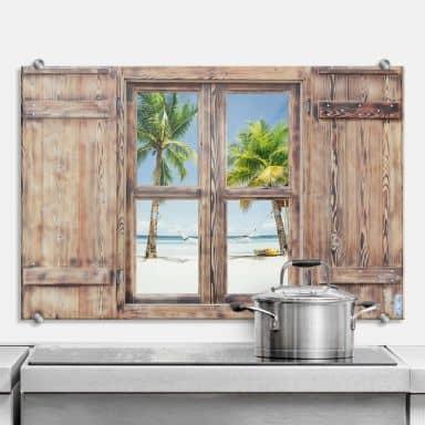 Spritzschutz 3D Holzfenster - Hammock in Paradise