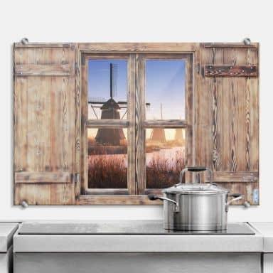 Spritzschutz 3D Holzfenster Pablo - Kinderdijk 4