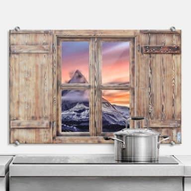 Spritzschutz 3D Holzfenster - Top of the Mountain