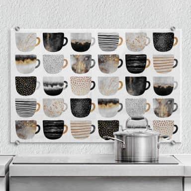 Spritzschutz Fredriksson - Kaffeetassen: Pretty Black & Gold - Transparent