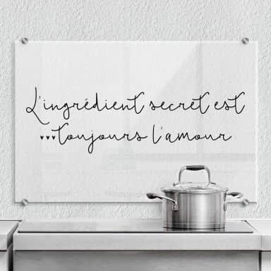Spritzschutz Transparent - L'ingrédient secret est toujours l'amour