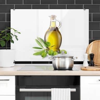 Küchenrückwand Olives and a bottle