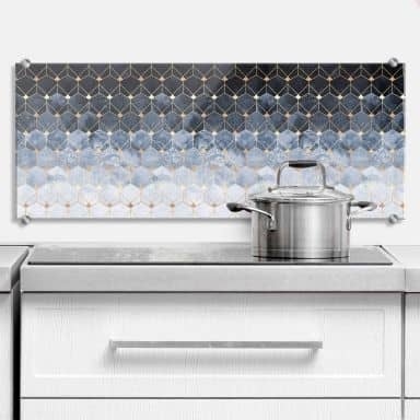 Splashback Fredriksson - Hexagons - Blue & Gold