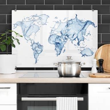 Spritzschutz Splashing Worldmap