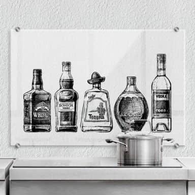 Spritzschutz - 5 Flaschen gefüllt mit Spaß - Transparent