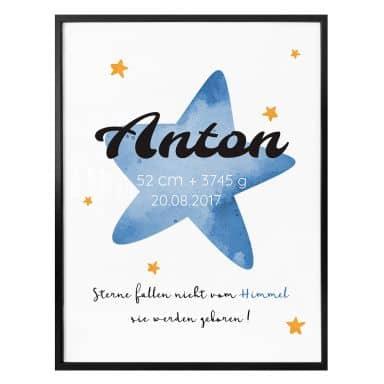 Personalisiertes Poster Sterne fallen nicht vom Himmel (blau)