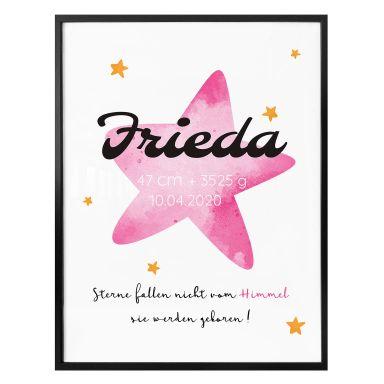 Personalisiertes Poster Sterne fallen nicht vom Himmel (rosa)