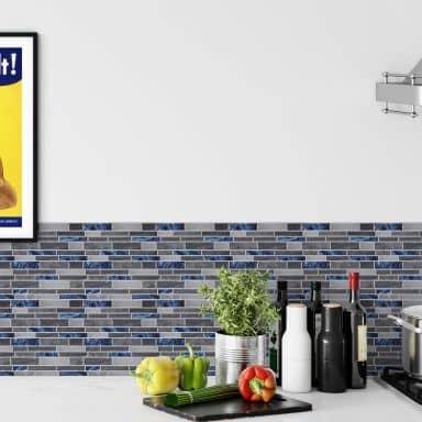 3D Flisenaufkleber Maueroptik Grau, Blau - 4er Set je 30,5 x 30,5 cm