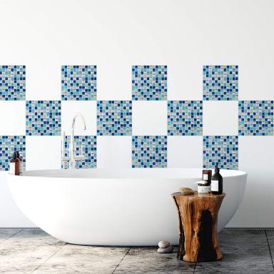 3D Fliesenaufkleber Mosaikmuster Blau - 4er Set je 25,4 x 25,4 cm