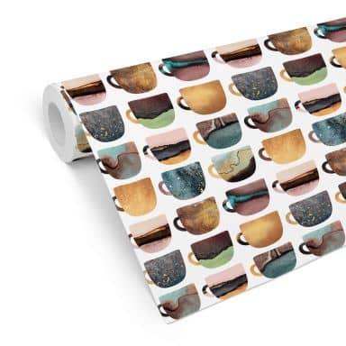 Patterned Wallpaper Fredriksson - Pretty Coffee Cups