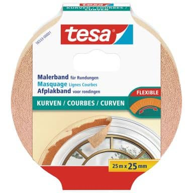 tesa® Masking tape for curves 25m x 25mm