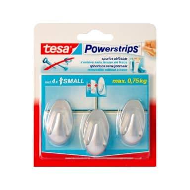 tesa Powerstrips® - Haken Oval chrom matt 3 Stk.