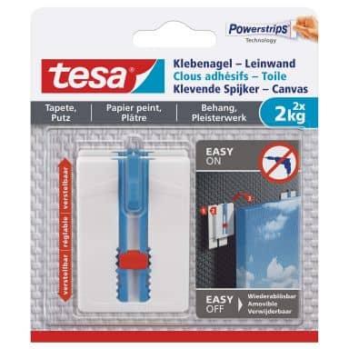 tesa® Klebenagel-Leinwand, verstellbar, für Tapete und Putz, 2x2kg