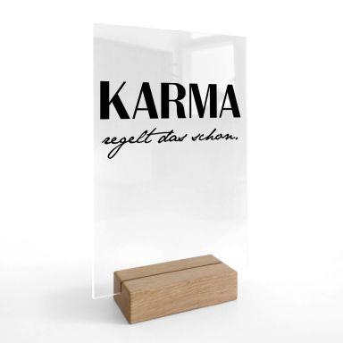 Tischaufsteller Karma regelt das schon