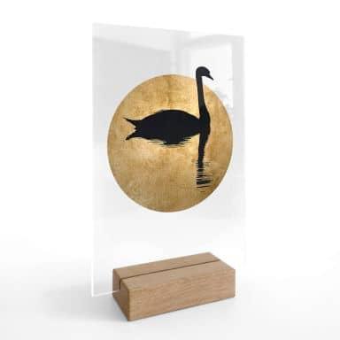 Chevalet de table en verre acrylique Kubistika - Cygne et pleine lune