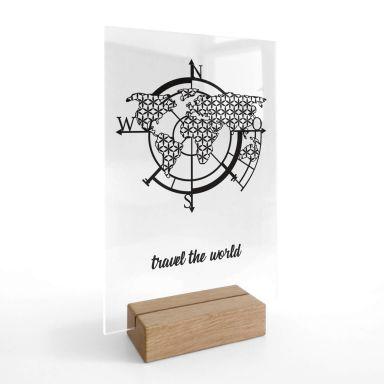Tischaufsteller Weltkarte - Travel the world