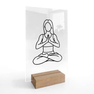 Tischaufsteller Yoga - Lotus - Line Art