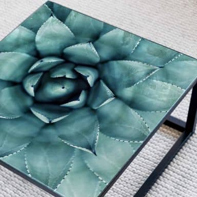 Tischplatte aus Glas - Agave 02 - Quadratisch - 60x60 cm