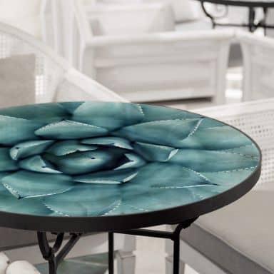 Tischplatte aus Glas - Agave 02 - Rund
