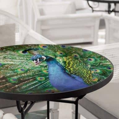 Tischplatte aus Glas - Beautiful Peacock - Rund
