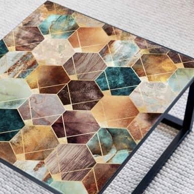 Glazen Tafelblad vierkant Fredriksson - Hexagons