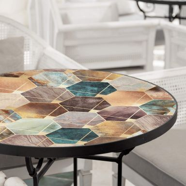 Glazen Tafelblad rond Fredriksson - Hexagons