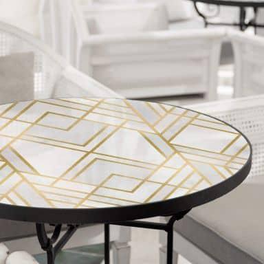 Tischplatte aus Glas - Fredriksson - Art-Deco: Goldene Geometrie - Rund