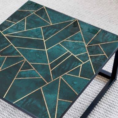 Glazen Tafelblad Fredriksson - Blue Green Emeralds