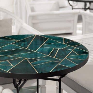 Tischplatte aus Glas - Fredriksson - Blau-grüner Edelstein - Rund