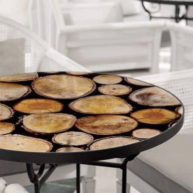 Tischplatte aus Glas - Wood Slices - Rund
