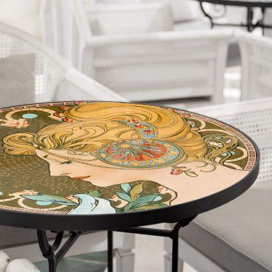 Tischplatte aus Glas - Mucha - Die Feder - Rund