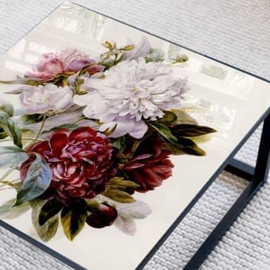 Glazen Tafelblad Redouté - Red Bouquet