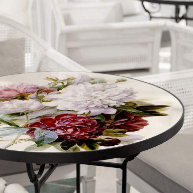 Tischplatte aus Glas - Redouté - Strauss von roten, lila und weißen Pfingstrosen - Rund