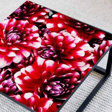 Tischplatte aus Glas - Rote Blütenpracht - Quadratisch