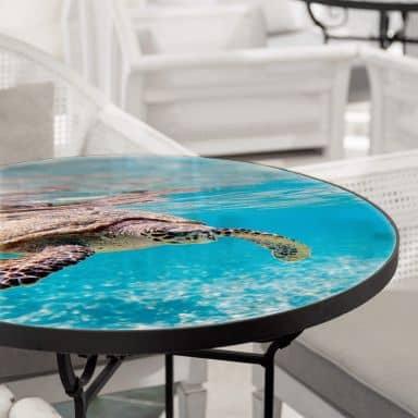 Tischplatte aus Glas - Schildkröte auf Reisen - Rund