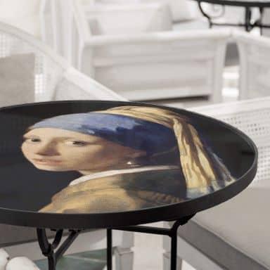 Glazen Tafelblad rond Vermeer - Meisje met de Parel