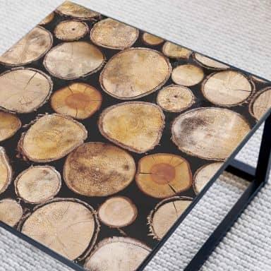 Tischplatte aus Glas - Wood Slices - Quadratisch - 60x60 cm