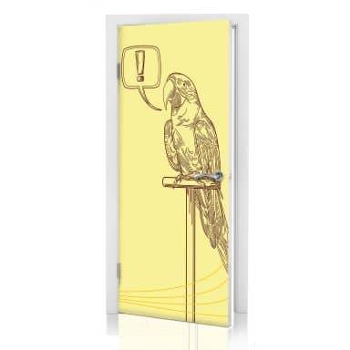 Türdesign Ausrufezeichen Papageien Illustration