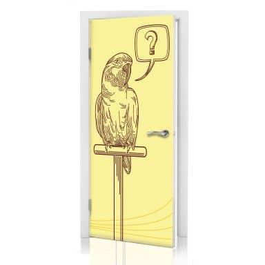 Türdesign Fragezeichen Papageien Illustration