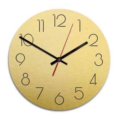 Wall Clock Alu-Dibond Gold Ø 28 cm