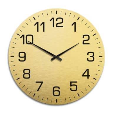 Horloge murale en Alu-Dibond - Dorée - Classique avec minutes Ø 70 cm