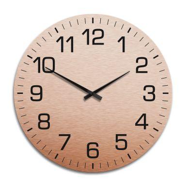 Horloge murale XXL en Alu-Dibond - Cuivrée - Classique avec minutes  - Ø 70 cm