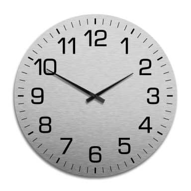 XXL Wanduhr Alu Dibond Silbereffekt - Klassisch mit Minutenanzeige Ø 70 cm