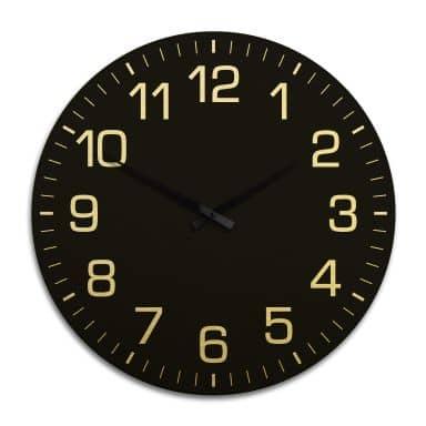 Horloge murale XXL en Alu-Dibond - Dorée - Classique noire avec minutes - Ø 70 cm
