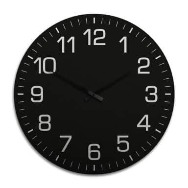 Horloge murale XXL en Alu-Dibond - Argenté - Class ique noire avec minutes