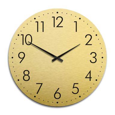 Horloge murale XXL en Alu-Dibond - Dorée - Moderne avec minutes - Ø 70 cm