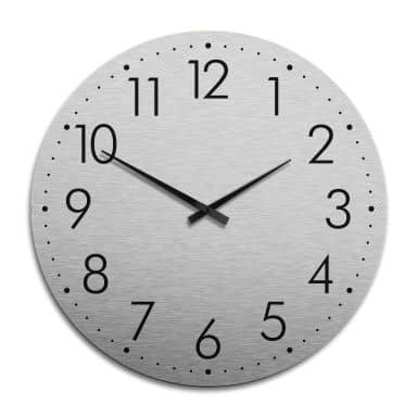 XXL Wanduhr Alu Dibond Silbereffekt - Modern mit Minutenanzeige Ø 70 cm