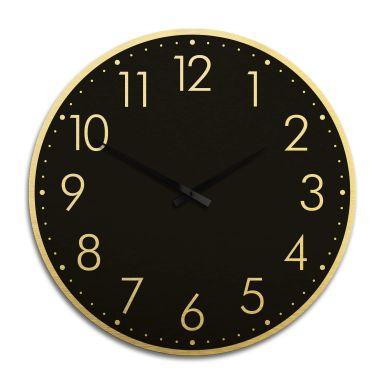 Horloge murale XXL en Alu-Dibond - Dorée  - Moderne noire avec minutes Ø 70 cm