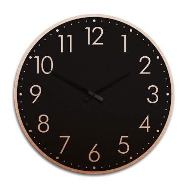 Horloge murale XXL en Alu-Dibond - Cuivrée - Moderne noire avec minutes  - Ø 70 cm