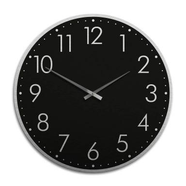 Horloge murale XXL en Alu-Dibond - Argenté - Moderne noire avec minutes